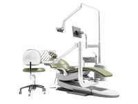 Dental unit olive chair doctor dentist and assistants chair 3d render on white background no shadow