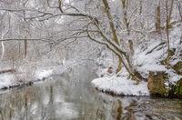 Winterlandschaft Harz Selketal Selke im Winter