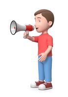 Cute Young Kid Holding a Megaphone. 3D Cartoon Character Illustration