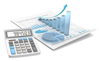 Abstract financial document with 3d graph and chart of frosted glass.