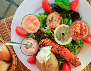 big salad with salmon