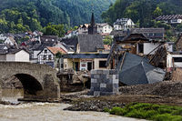 Flood disaster 2021, destroyed Nepomuk bridge over the river Ahr, Rech, Germany, Europe