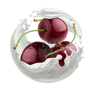 Cherry berries with milk splash isolated on white background