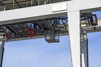 operator cabin under the bridge of a gantry crane