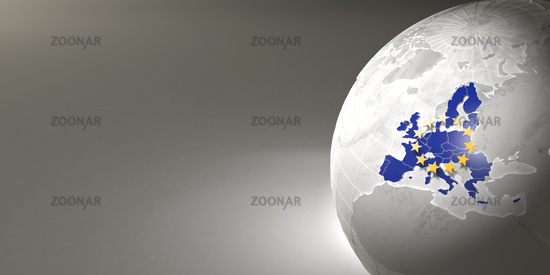 Map of the European Union on Earth. 3d