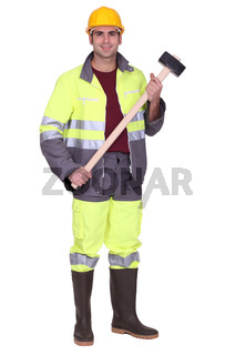Workman with a sledgehammer
