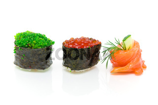 Sushi and roll with cucumber close-up on white background