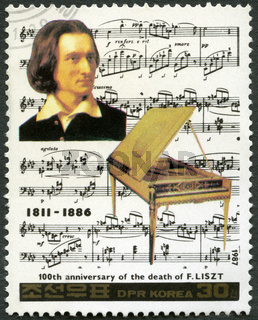 NORTH KOREA - 1987: shows Franz Liszt (1811-1886), series Famous Composers