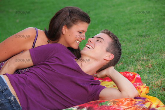 happy healhty young couple outdoors concept for fr