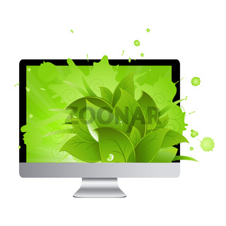 Icon Of Monitor With Leaves