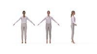3D rendering of a casual business woman multiple views, front side and back.