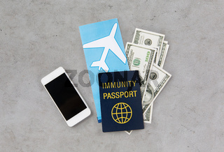 immunity passport and air tickets for travel