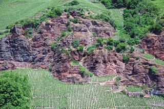 Weinhanglage und Felsen im deutschen Weinbaugebiet Mosel, Tal der Mosel, Rheinland-Pfalz, Deutschland, Europa