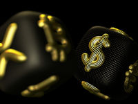 Digital 3D golden dices with cryptocurrency and fiat currency symbols