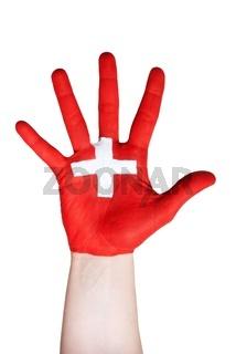 a hand on white symbolizing switzerland
