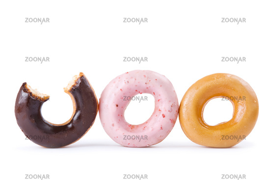 Colorful delicious donut in a row