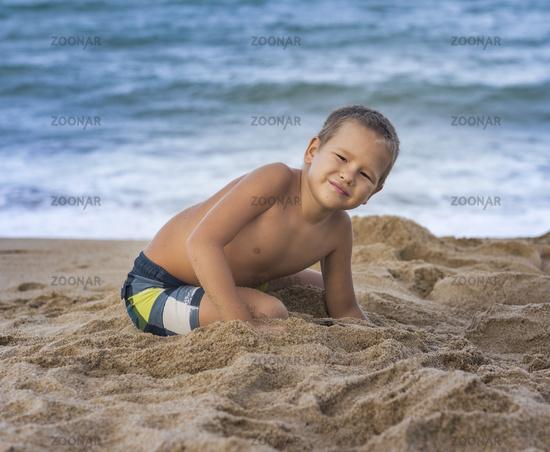 Outdoor portrait of a little boy