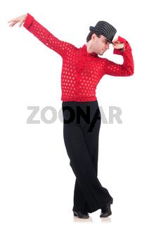 Dancer dancing spanish dances on white