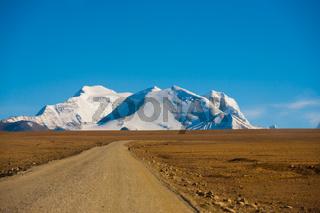 Curving Dirt Road Tip Himalayas Mountain