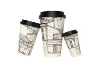 3d rendering of group of dimensional disposable paper cups with lid selling coffee on white background no shadow