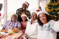Happy multi generation family wearing santa hats, taking selfie