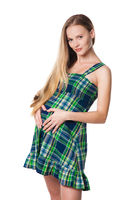 pregnant woman in green dress