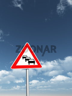 verkehrszeichen stau vor blauem wolkenhimmel - 3d illustration