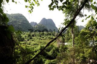 Die Landschaft rund um die Buddha Hoehle oder Buddha Cave (Innen ist Fotografieren verboten) von Tham Pa Fa unweit der Stadt Tha Khaek in zentral Laos an der Grenze zu Thailand in Suedostasien.