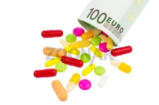 Tabletten und 100 Euroschein