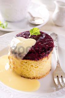 cheesecake with vanilla sauce