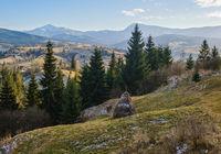 Late autumn mountain scene. Picturesque traveling, seasonal, nature and countryside beauty concept scene. Carpathians, Ukraine.