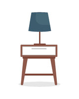 Bedside table with lamp semi flat color vector object