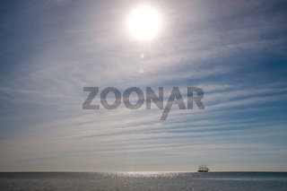 Large sailing ship with sparkling water