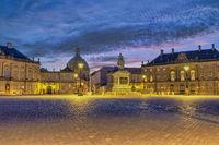Copenhagen Denmark, night city skyline at Amalienborg Palace