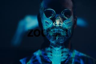 Skull portrait skeleton of adult man in halloween