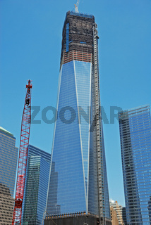 Bauarbeiten am Wolkenkratzer, One World Trade Center, Freedom Tower, 9-11 Memorial, Ground Zero, New York City, USA, Nordamerika, Amerika