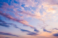Panorama of sky. Orange blue and violet color sunset sky background. Colorful landscape