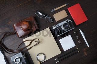 Travel concept, retro camera
