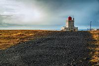 Dyrholaey lighthouse at sunset, Iceland