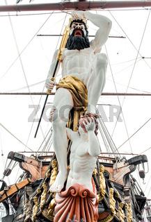 Detail of Galeone Neptune ship, tourist attraction in Genoa, Italy