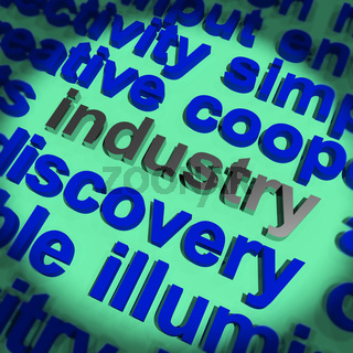 Industry Word Showing Production And Industrial Factories