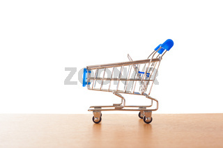 shopping carts on the wooden floor