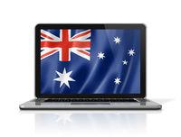 Australian flag on laptop screen isolated on white. 3D illustration