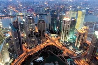 shanghai financial center at dusk