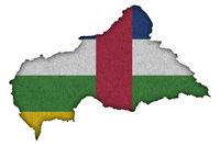 Karte und Fahne von Zentralafrikanische Republik auf Filz - Map and flag of Central African Republic on felt