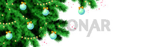 Christmas tree on white background, web template for festive promotional items - Vector