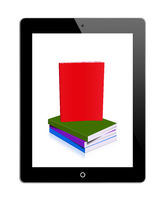 Tablet PC with stack of books