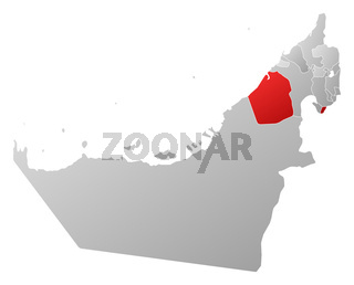 Map of the United Arab Emirates, Dubai highlighted