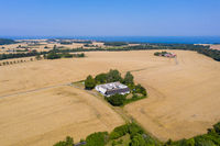 Drone View of farms and fields on Bornholm, Denmark