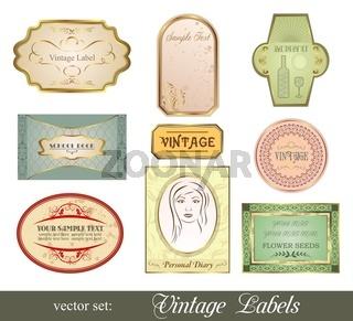 set retro variation vintage labels